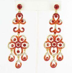 Pageant Earrings G-Red  #lmbling #lmblingearrngs #lmblingoragneearrings #lmblingstatementearrngs #pageantearrings #orangepageantearrings #lmblingchandelierearrings #chunkyearrings #pageantjewelry #promjewelry