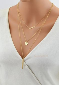 SALE 10% Layering Necklace Gold / Layered Necklace Set / Disc Necklace / Tiny Bar Necklace / Stick Bar Necklace Long / Personalized / Three