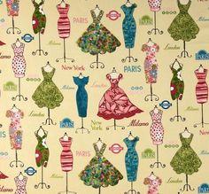 Dress Up Dressed Mannequins Vintage Teal USA von ballerinacarmina - Hochwertige Designer-Stoffe auf DaWanda.com