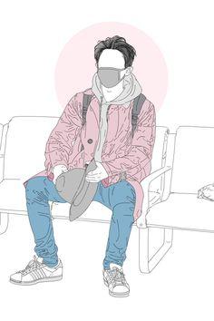 Anime Art Girl, Anime Guys, Park Chanyeol Exo, Kpop Exo, Exo Fan Art, Cute Art Styles, Bts Drawings, Aesthetic Themes, Dope Art