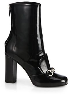 Gucci Lilian Patent-Leather Horsebit Ankle Boots