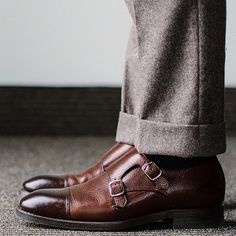 For the love of flannel. Shout out to flannel trousers and grain double monks via . Carlos Santos Shoes, Professional Wardrobe, Flannels, Goodyear Welt, Stylish Men, Shoe Game, Tweed, Oxford Shoes, Dress Shoes