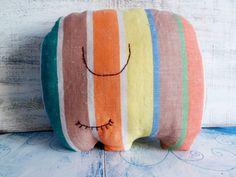 Stuffed elephant pillow nursery decor 10x12 by HandyHappyTeddy