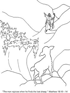 The Lost Sheep Coloring Page  Bible Jesus and His Parables