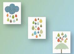 Cloud umbrella rain  baby nursery decor nursery