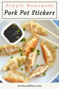 Pork Pot Stickers Pork Pot Stickers are surprisingly easy to make at home with ingredients you can control! These crispy bites are filled with a flavourful pork filling. Pork Wonton Recipe, Wonton Recipes, Pork Recipes, Asian Recipes, Cooking Recipes, Thai Recipes, Dinner Recipes, Chinese Recipes, Mexican Recipes