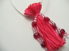 Pink Beaded Tassel with Red Hearts Galore for by lizbethsgarden, $10.00 #dteam