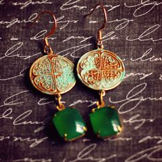 Vintage Jade Glass and Celtic Coin Charm by jewelryfineanddandy, $20.00