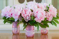 Color Mason Jar Flower Bouquets