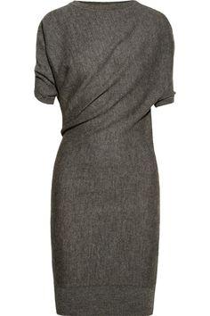 lanvin | draped alpaca and wool-blend dress