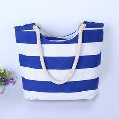"""Blue & White Thick Striped"" Summer Canvas Bag"