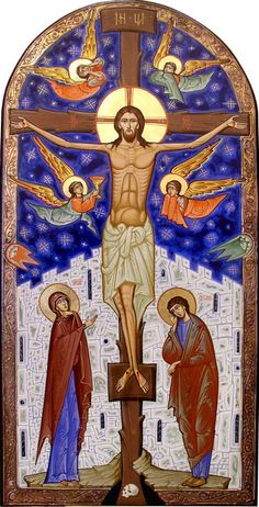 Incredible icon of the crucifixion Byzantine Icons, Byzantine Art, Christian Images, Christian Art, Religious Icons, Religious Art, Jesus E Maria, Jesus Christus, Christ The King
