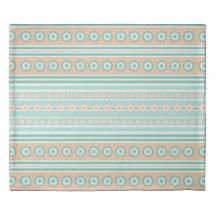 Striped mint green and orange background with dots duvet cover