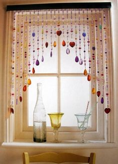 Beaded Curtain Window - Make it using Blue and Green and Clear Beads Put above the kitchen sink