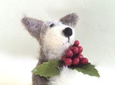 Christmas Fox ornament silver Fox with muff hand by Felt4Soul