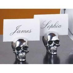 skull place card holder set