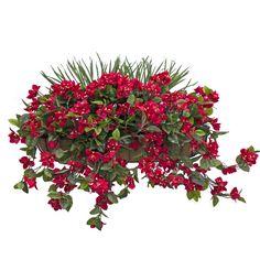 Jardinière murale de bougainvilliers rouges vif avec verdure