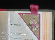corner bookmark; love the ribbon!
