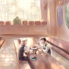 since i keep calling Scorpius and Albus my precious cinnamon rolls, I figured I'd draw them eating…. cinnamon rolls! Scorbus leisurely afternoon homework sessions with snacks give me life :'D + bonus...