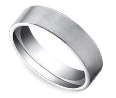 Satin Men's Wedding Ring in White Gold $825 6mm