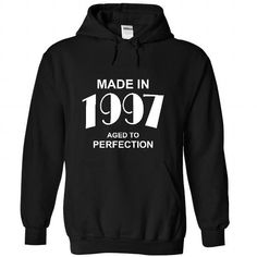 Made in 1997 T Shirts, Hoodies, Sweatshirts. CHECK PRICE ==► https://www.sunfrog.com/Birth-Years/Made-in-1997-4372-Black-44895337-Hoodie.html?41382