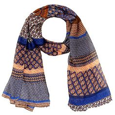 LERDU Womens Warm Oversize Bohemian Voile Scarves Blend Color Wrap Shawl for Ladies Navy Blue ** More info could be found at the image url.  This link participates in Amazon Service LLC Associates Program, a program designed to let participant earn advertising fees by advertising and linking to Amazon.com.
