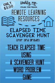 #Distancelearning #math is made fun and easy with this #teaching resource.  Your #3rdgrade child will enjoy learning about #elapsedtime using this #scavengerhunt #activity. Check out Ipohly.com for more great math resources! Problem Solving Activities, Math Activities, Guided Math Stations, Time Word Problems, Math Manipulatives, Math Words, Elapsed Time, Math Facts, 3rd Grade Math