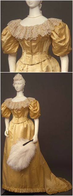 Two-piece evening dress in light yellow-gold silk satin, by Sartoria Giabbani Mode e Confezioni, Florence, c. 1894, at the Pitti Palace Costume Gallery. Via Europeana Fashion.