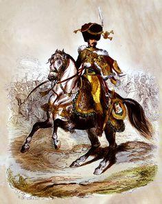 """El Príncipe Eugène de Beauharnais, comandante en jefe de los cazadores a caballo"" (Dibujo de René de Moraine, 1810). Más en www.elgrancapitan.org/foro"