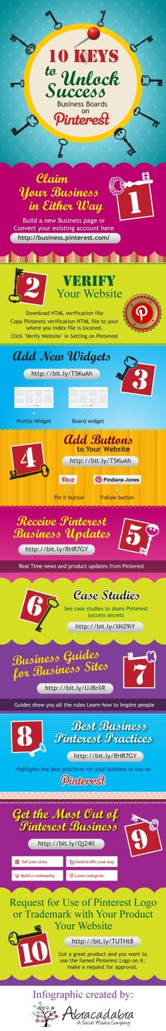 10 keys to unlock success business boards on Pinterest #infographic