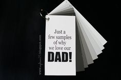 Sample Book for Dad {Crafts} FATHER'S DAY gift for kids to make using paint samplesFATHER'S DAY gift for kids to make using paint samples Dad Crafts, Fathers Day Crafts, Happy Fathers Day, Free Paint Samples, Holiday Fun, Holiday Crafts, Holiday Ideas, Paint Sample Cards, Father's Day Printable