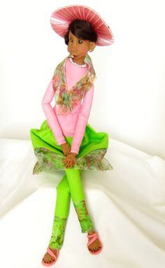 African American Art Doll in Pink and Green Sorority Colors