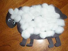 sheep craft...Baa Baa, Mary Little Lamb, Bo Peep mom's night at luckey- nursery rhyme themed