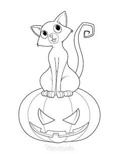 ausmalbild halloween - fliegende hexe mit katze