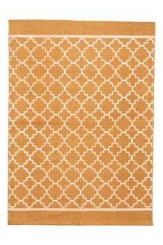 Katoenen vloerkleed met dessin - Mosterdgeel - HOME | H&M NL 1