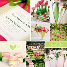 "#Wedding Inspiration featuring Evermine's ""Swiss Dots"" Invitation Collection in pink and green."