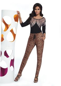 Leggings pantalon sexy léopard moulant femme qualité BAS BLEU ALISHA S M L XL