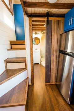Julia's 20' Tiny House on Wheels by MitchCraft Tiny Homes  Tiny House Movement // Tiny Living // Tiny House Stairs // Tiny Home Storage // #TinyHouseonWheels #Architecture #Homedecor #TinyHome