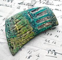 """Yosemite"" pin - polymer clay veneers by Stories They Tell - Christine Damm www.storiestheytell.com"