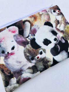 Creepy Stuffed Animals Zipper Pouch: Plush Bunnies, Teddy Bears, Panda.