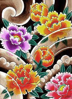 Traditional Flower Tattoo Flash Art | flower flash