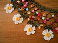 Crochet bib necklace daisy by PashaBodrum on Etsy