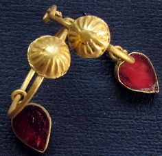 Roman Golden Earrings with hanging stones