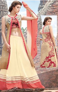Picture of Magnificent Cream and Beige Designer Palazo Kameez