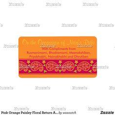 Pink Orange Paisley Floral Return Address Labels