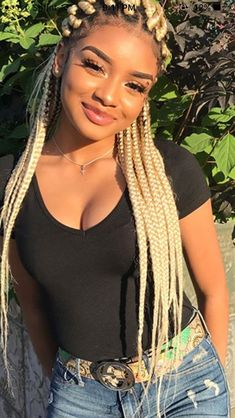 49 Amazing Lemonade Braids Hairstyles For 2018 That Attract Your Friends - Fashionuki Big Box Braids, Blonde Box Braids, Black Girl Braids, Girls Braids, Lemonade Braids Hairstyles, Box Braids Hairstyles, Pelo Afro, Black Girls Hairstyles, Beautiful Black Women
