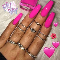 In look for some nail styles and ideas for your nails? Listed here is our set of must-try coffin acrylic nails for fashionable women. Neon Pink Nails, Bright Nails, Summer Acrylic Nails, Cute Acrylic Nails, Barbie Pink Nails, Aycrlic Nails, Nails 2018, Dope Nails, Fun Nails
