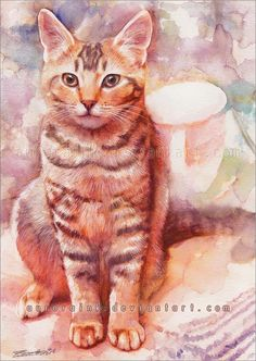 Waiting for you - Cat Watercolors by Aurora Wienhold  <3 !