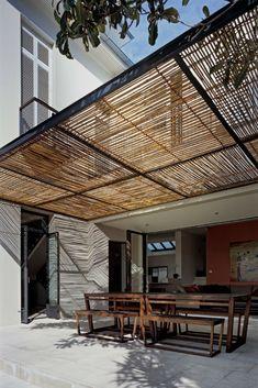 bamboo awning Metal Pergola, Wooden Pergola, Outdoor Pergola, Backyard Pergola, Pergola Lighting, Metal Roof, Cheap Pergola, Canopy Outdoor, Exterior Lighting