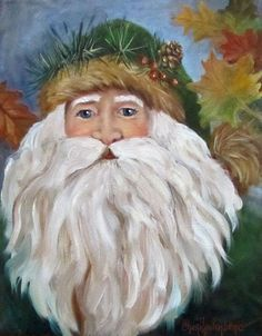 Santa Painting Original by Cheri Wollenberg by ChatterBoxArt Santa Paintings, Christmas Paintings, Original Paintings, Oil Paintings, Father Christmas, Christmas Art, Vintage Christmas, Christmas Drawing, Vintage Santas